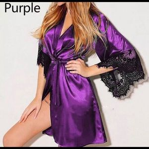 Sexy Satin Lace Babydoll Robe with a Thong